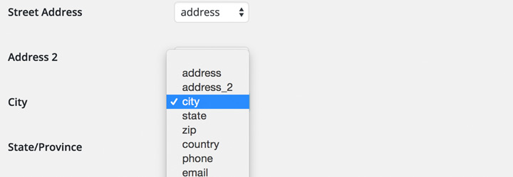 Map existing address and coordinate meta fields